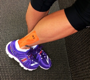 This is not from the morning of Sole, but this is what my leg looks like with the tape on. Plus a cameo by my new kicks!