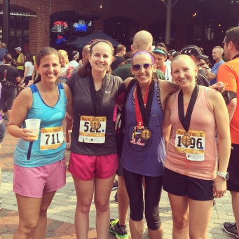 Post-race with some awesome bloggers! Amber of PB&PRs on my left and Lisa from Running Out of Wine on my right!