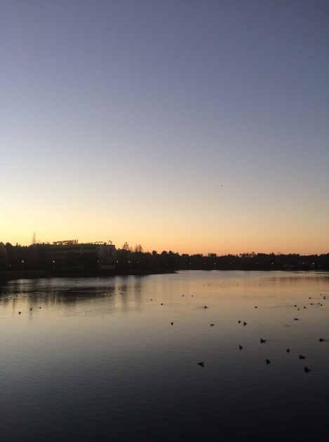 Beautiful sunrise over Hourglass Lake.